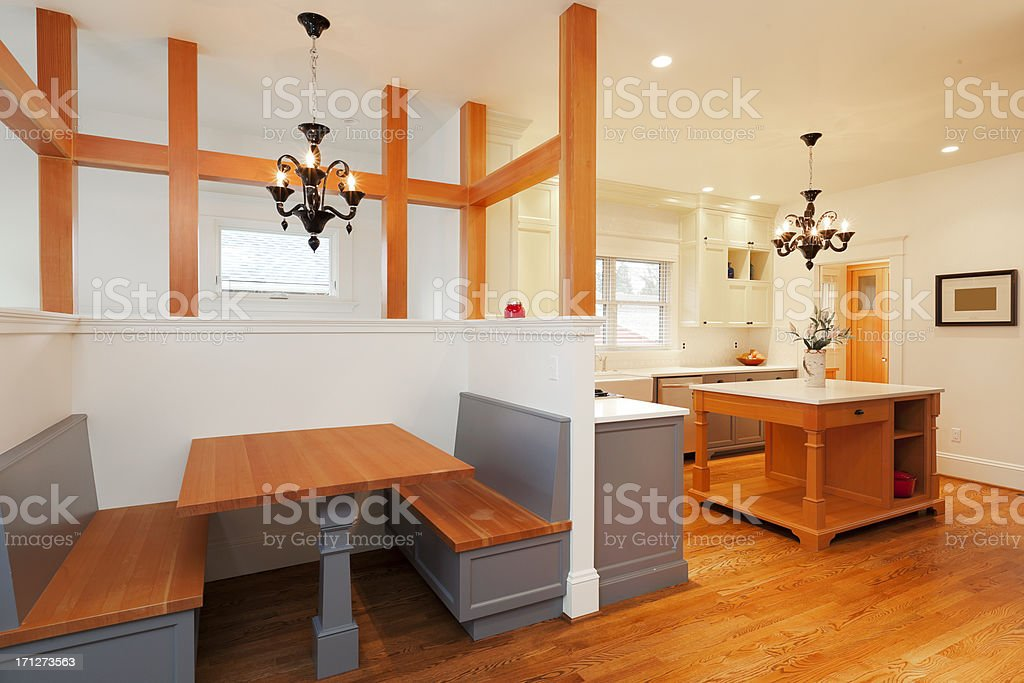 Kitchen with Built in Booth stock photo