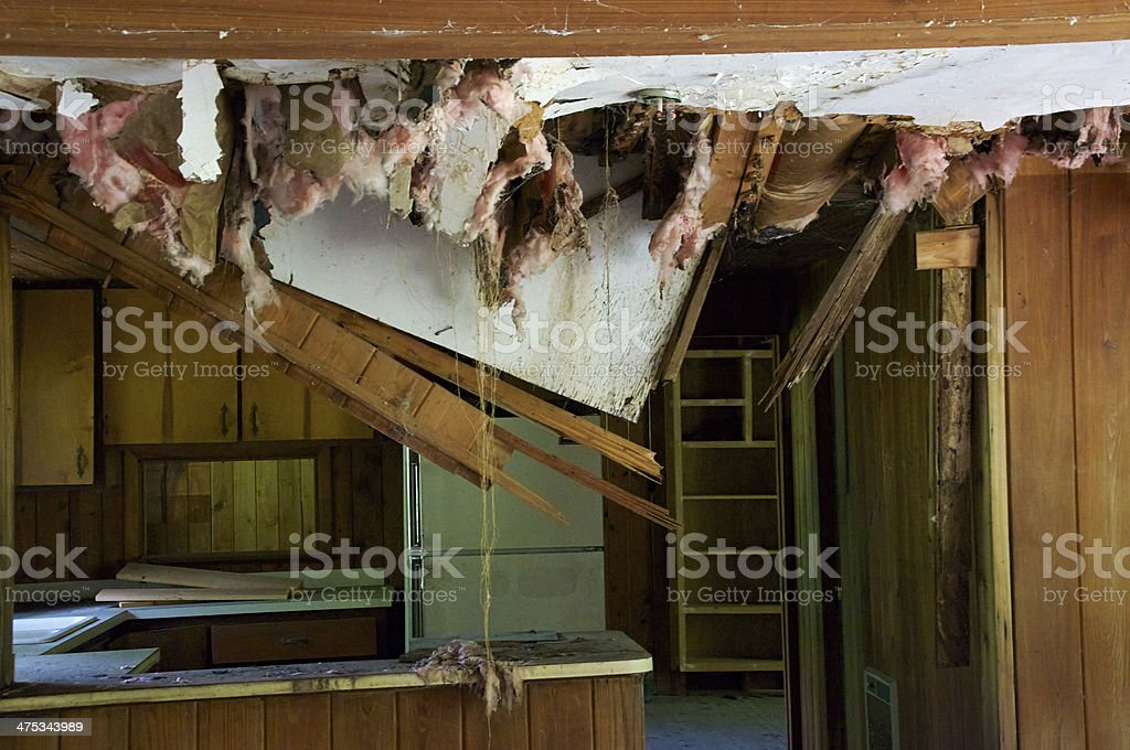 kitchen with ceiling falling down stock photo