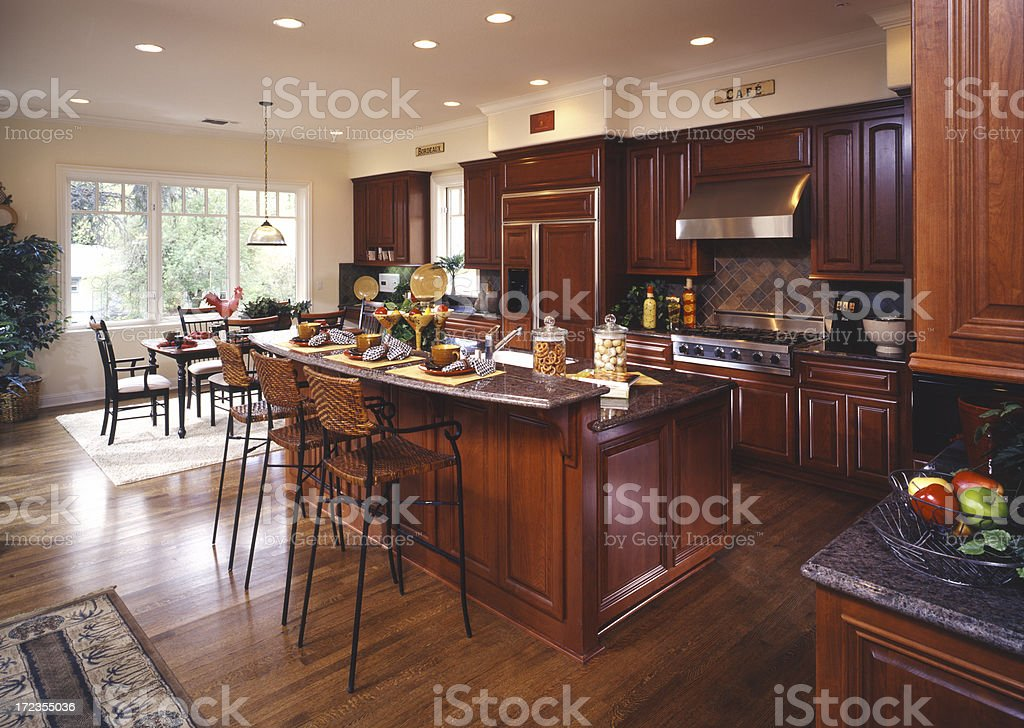 kitchen with cherry cabinets royalty-free stock photo