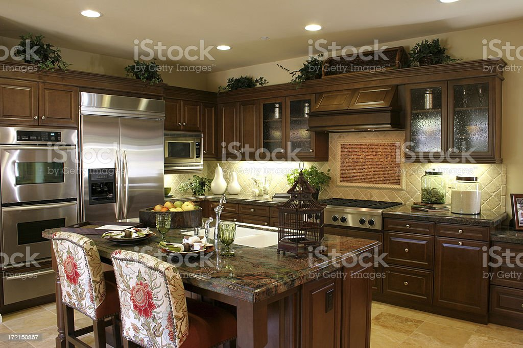 Kitchen with dark cabinets royalty-free stock photo