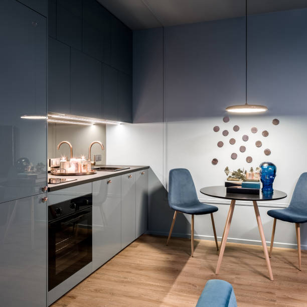 Kitchen with dining area stock photo