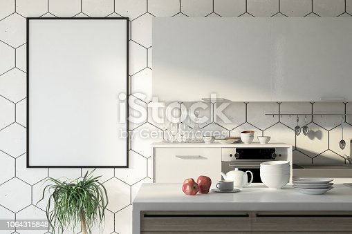 istock Kitchen with Empty Picture Frame 1064315848
