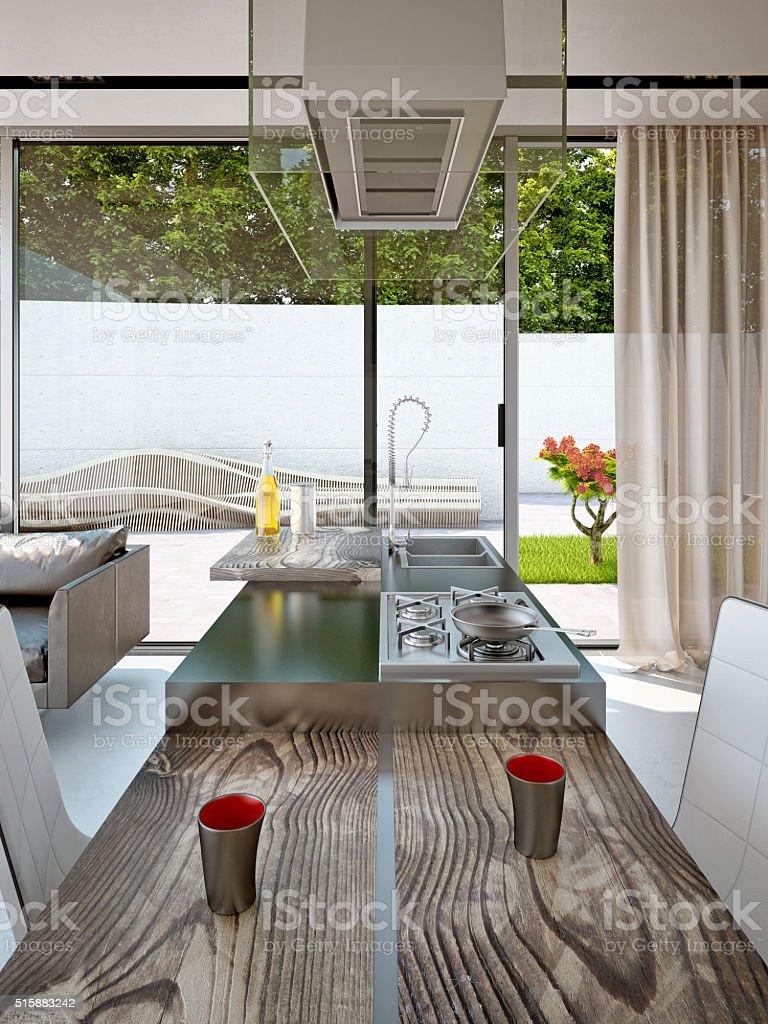 Cucina Con Vista Sul Giardino - Fotografie stock e altre immagini di ...