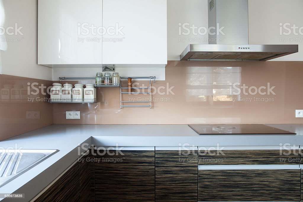 Kitchen with induction hob stock photo
