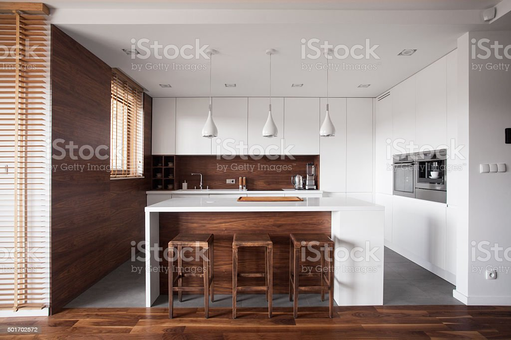 Kitchen with island stock photo
