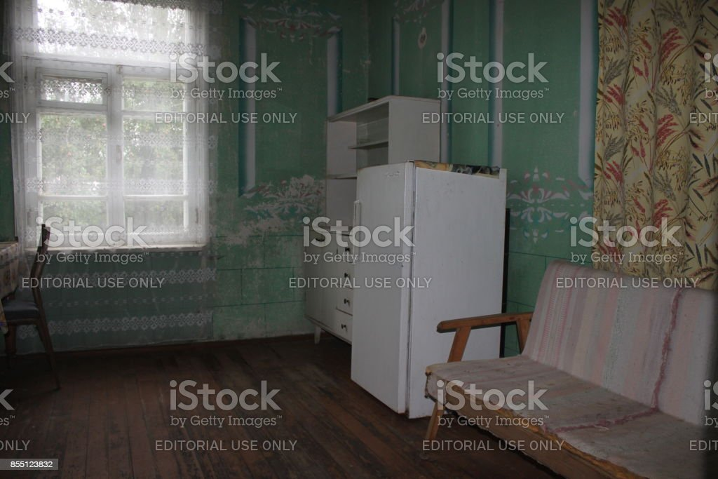 Kitchen With Old Furniture In The Abandoned House Royalty Free Stock Photo