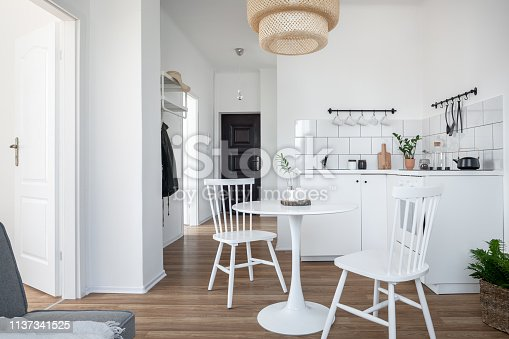 Contemporary interior with round table and chairs in the kitchen