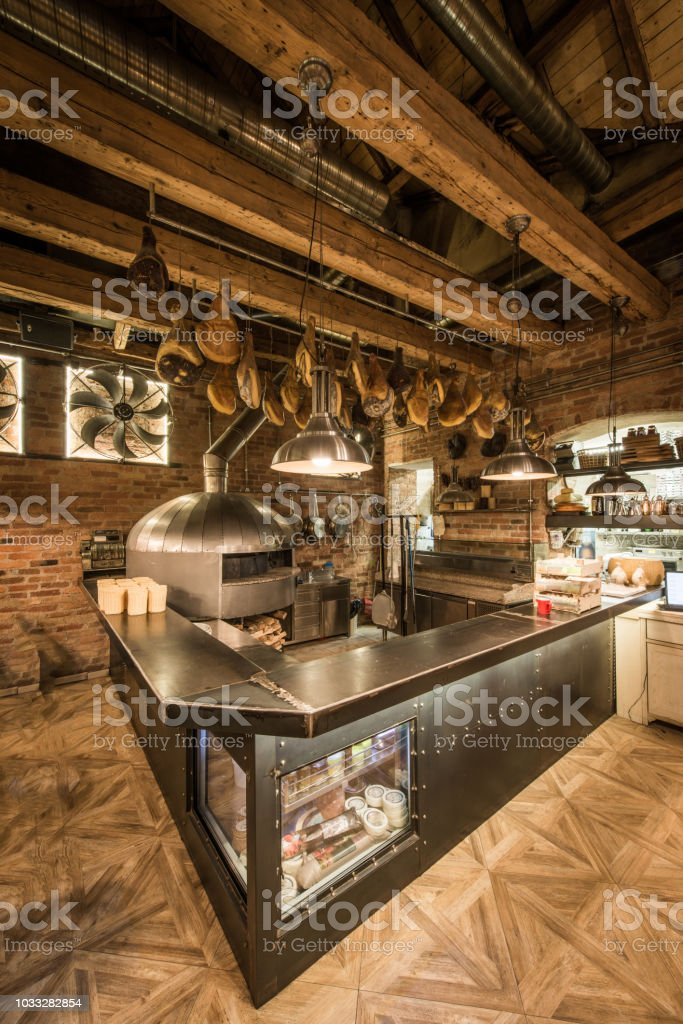 Kitchen With Rustic Pizza Oven In Restaurant Interior Stock Photo Download Image Now Istock