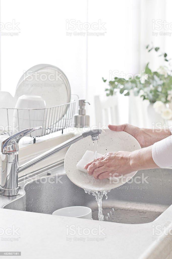 Kitchen, woman, Dishwasher stock photo