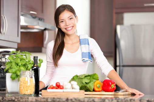 Kitchen Woman Making Food Stock Photo - Download Image Now
