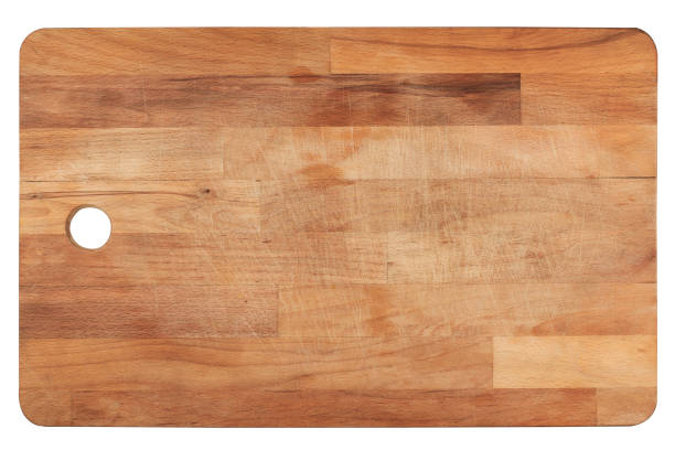 kitchen wooden cutting board on white stock photo