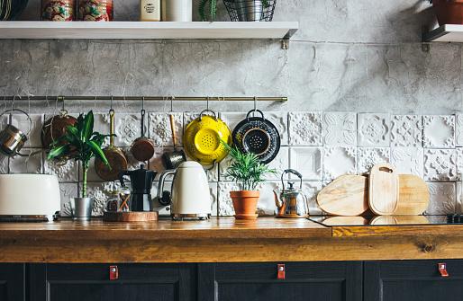 Kitchen work surface, interior elements, Scandinavian rustic style