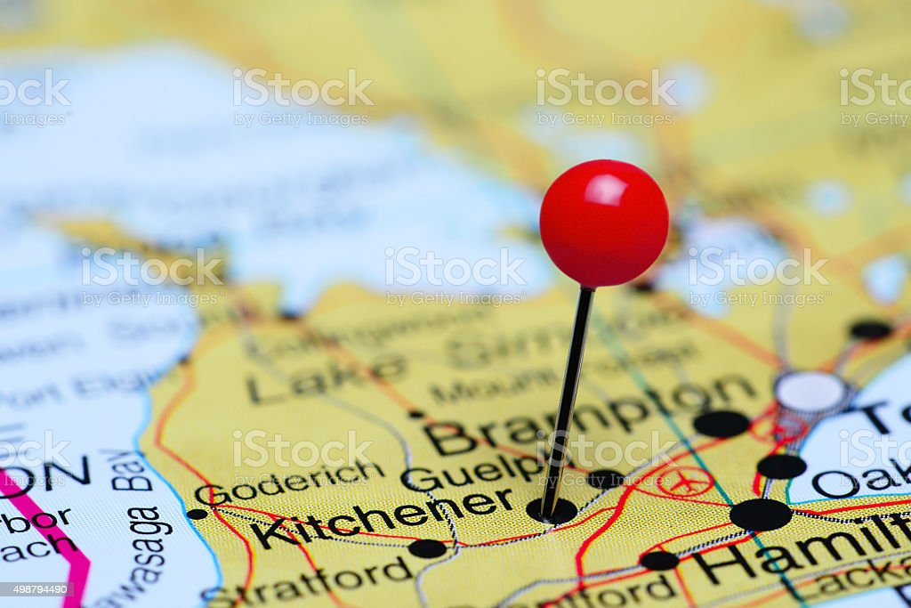 Kitchener pinned on a map of Canada stock photo