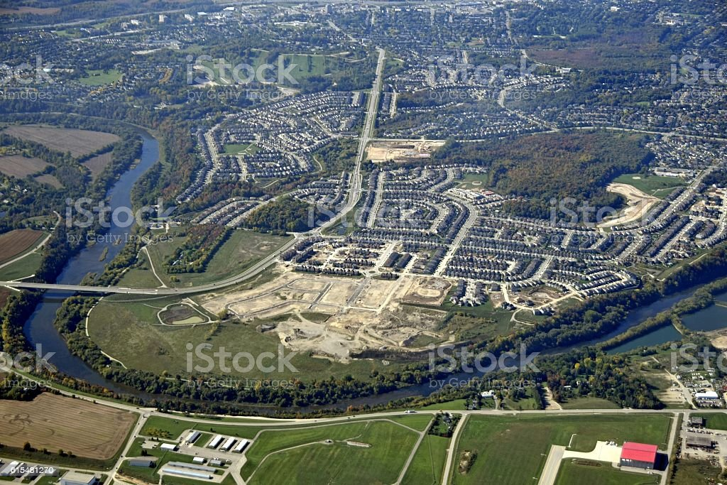 Kitchener Waterloo aerial stock photo