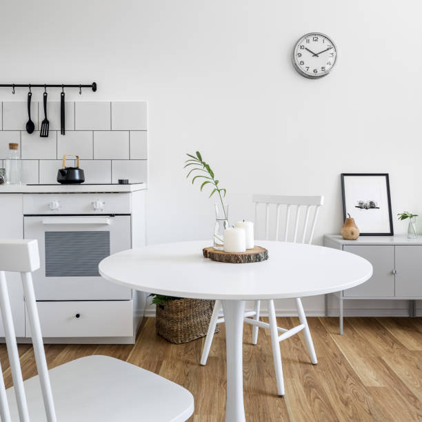 Kitchenette with round table stock photo