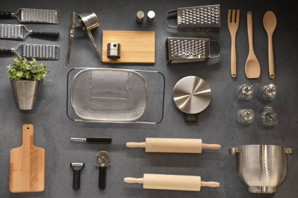 Kitchenware and baking utensils stock photo