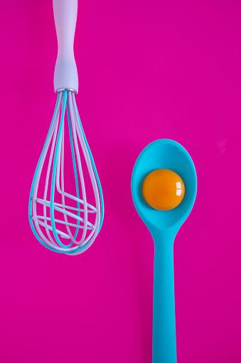 kitchenware and egg yolk