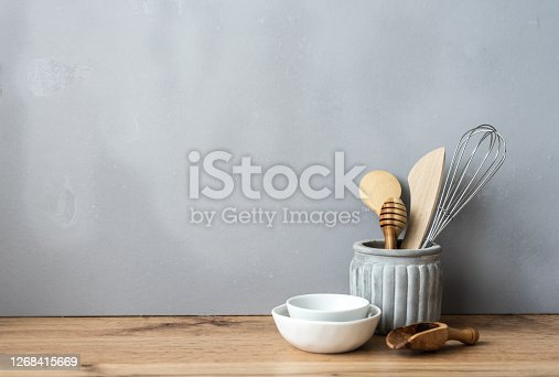 Wooden spoons, bowls, white, private kitchen, copy space, neutral background, rustic, still life