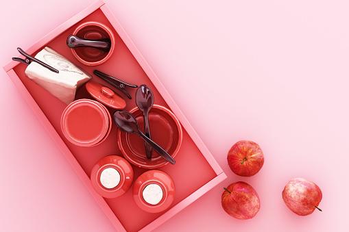 istock Kitchenware on pink background. 3d rendering 1177581309