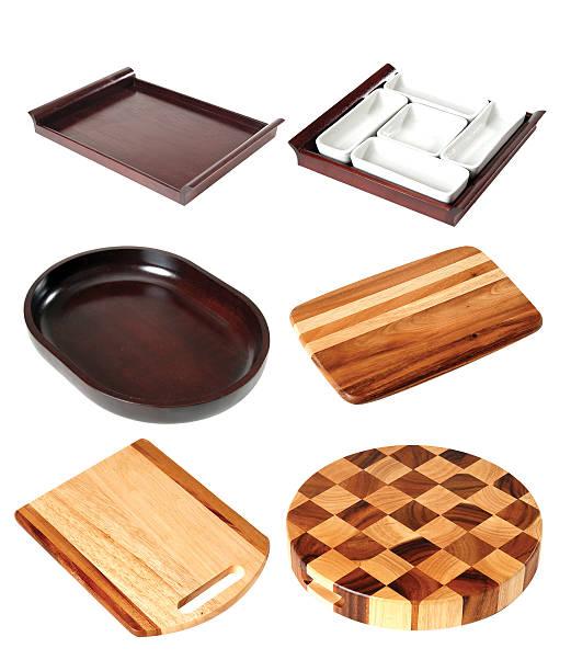 küchenbedarf  - tablett holz stock-fotos und bilder