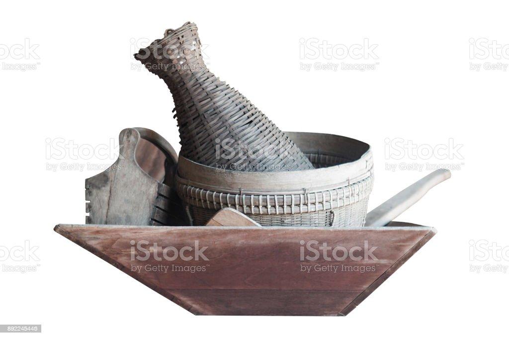 Kitchenware thai traditional isolated on white background stock photo
