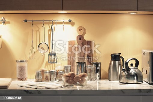 839034546 istock photo kitchenwares and indredient bottles 1205660518
