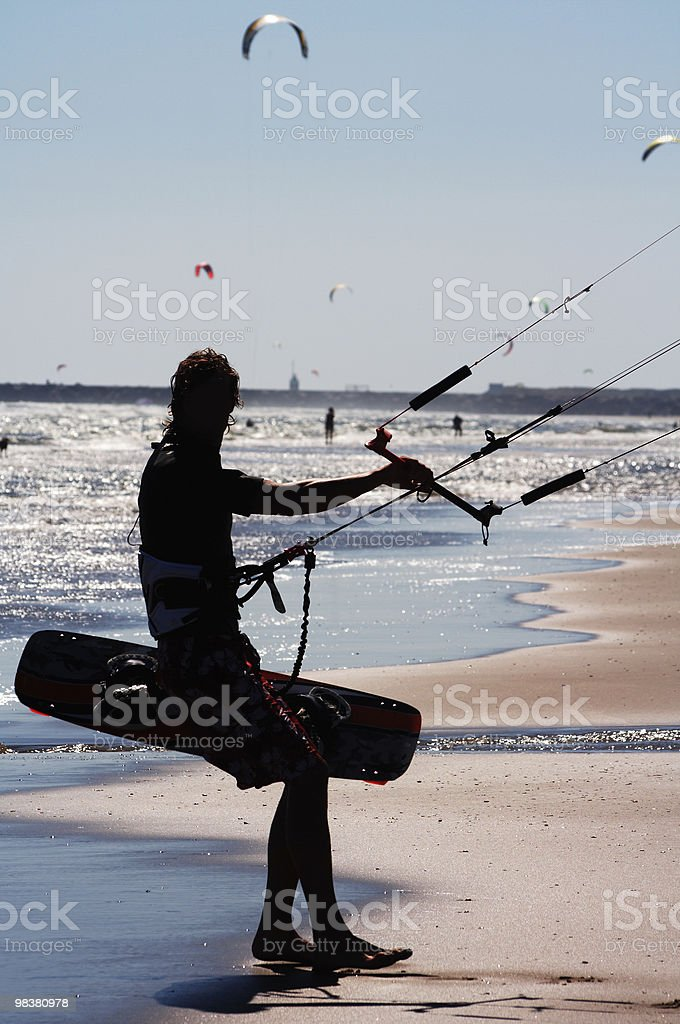 Kite boarder silhouette royalty-free stock photo