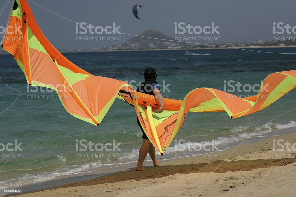 Kite boarding on Naxos royalty-free stock photo