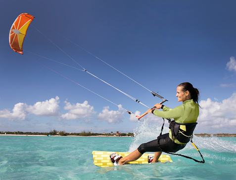 Kite Boarding Woman in the Caribbean.
