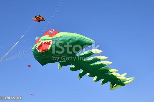 Kite festival. Kites in the sky at the beach of Atlantic ocean