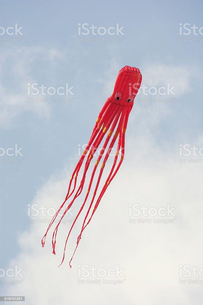 Kite flying - shape of octopus stock photo