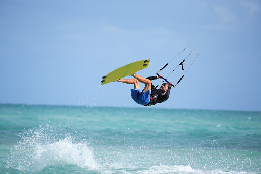 kite boarder flying through the air