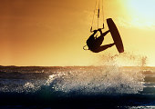 Fuerteventura, Spain : 2020 October 2 : Blonde Woman in the pratic Kite Surf in the Playas de los Charcos in El Cotillo on Fuerteventura in summer 2020.
