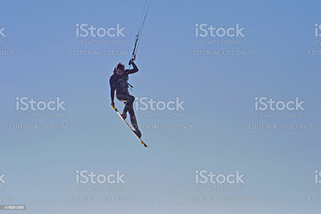 Kite surfer on the Columbia river stock photo