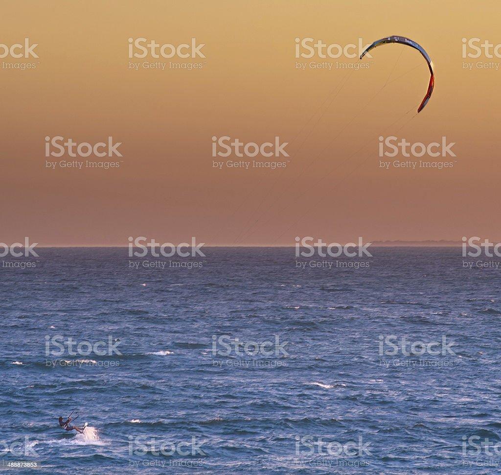 Kite surfer sailing stock photo