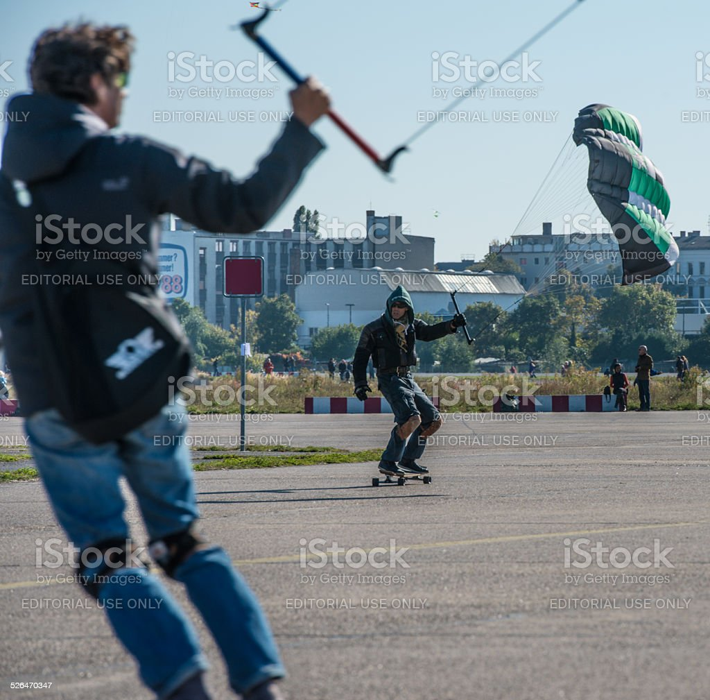 Kite Surfers on the Tempelhof Airport stock photo