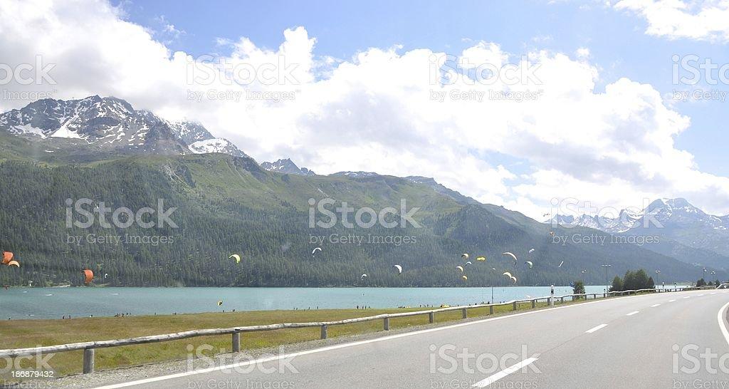 Kite Surfing In Lake Silvaplana, Switzerland stock photo