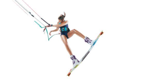 kite-surfen, isoliert auf weiss - digital surfer stock-fotos und bilder