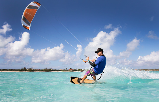 Kite Surfing Man In The Caribbean