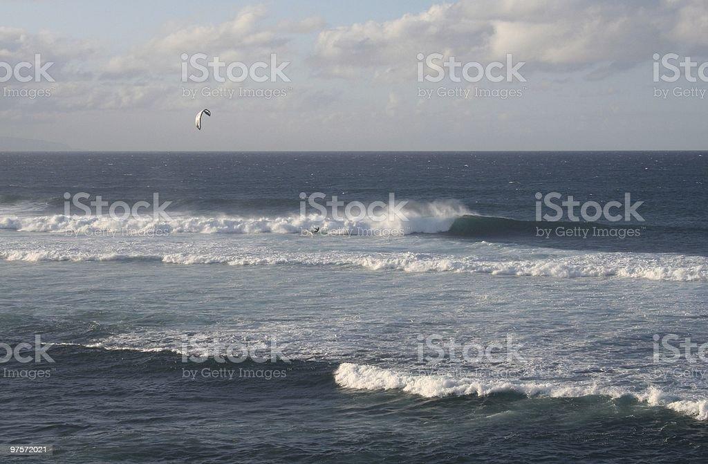 Kite Surfing off Maui Hawaii Coast royalty-free stock photo