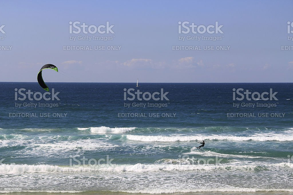 Kite Surfing On The Mediterranean Sea In Israel Stock Photo
