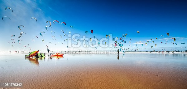 Kite surfing at Essaouira Beach, Morocco
