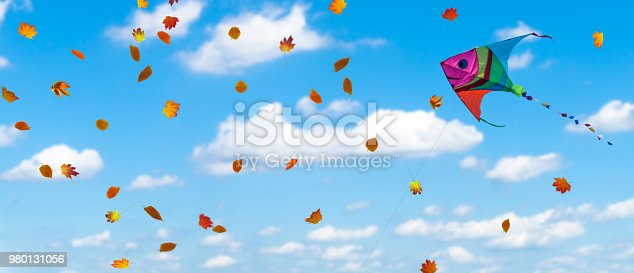 colorful kite and fall leaves on blue autumnal sky