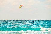 kiteboarder kitesurfer athlete performing kitesurfing kiteboarding tricks unhoocked in Varadero