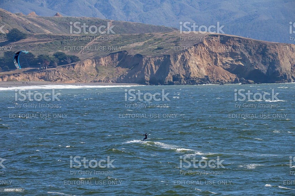 Kiteboarding at Pacific of California stock photo