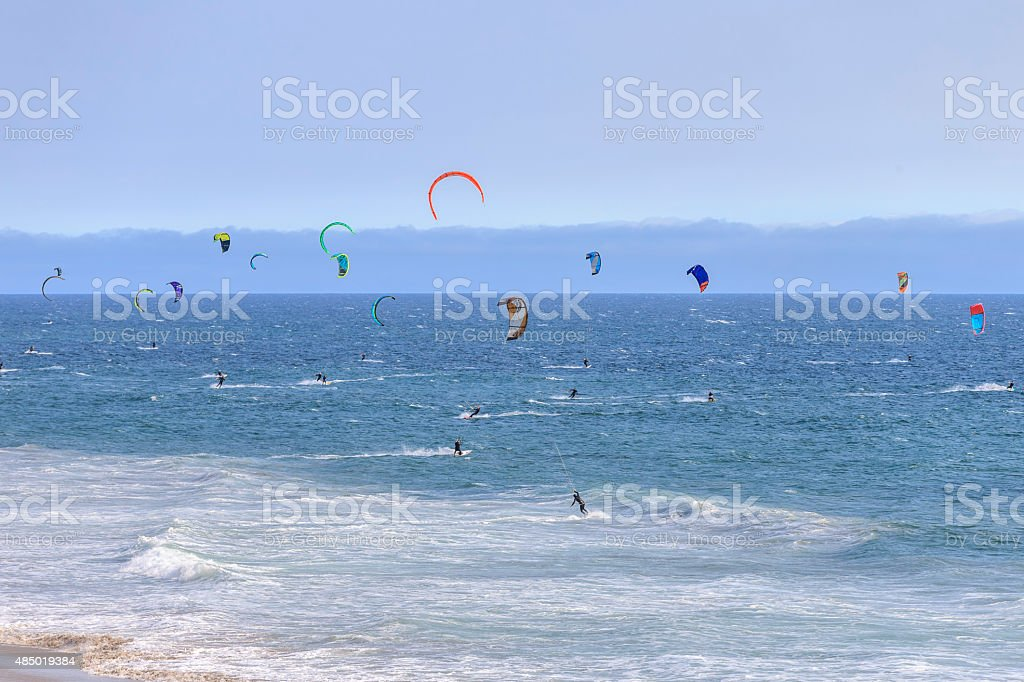 Kiteboarding at Santa Cruz of California stock photo