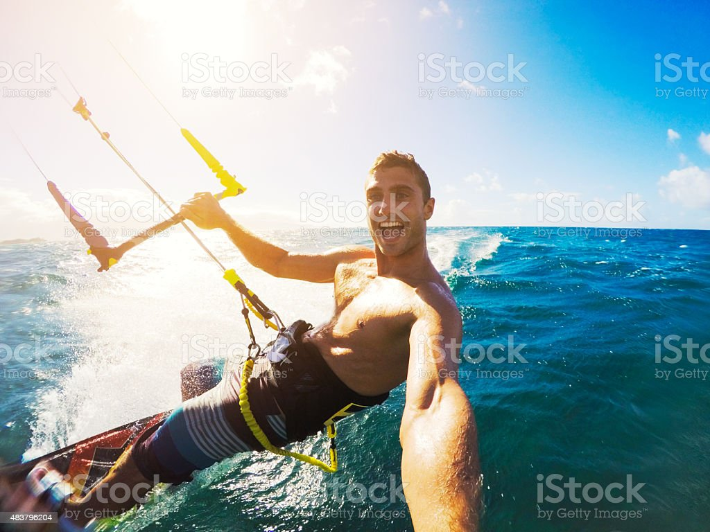 Kiteboarding. Fun in the ocean, Extreme Sport Kitesurfing. POV Angle...