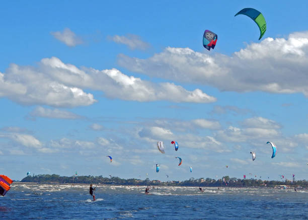 Kiteboarding in Brisbane stock photo