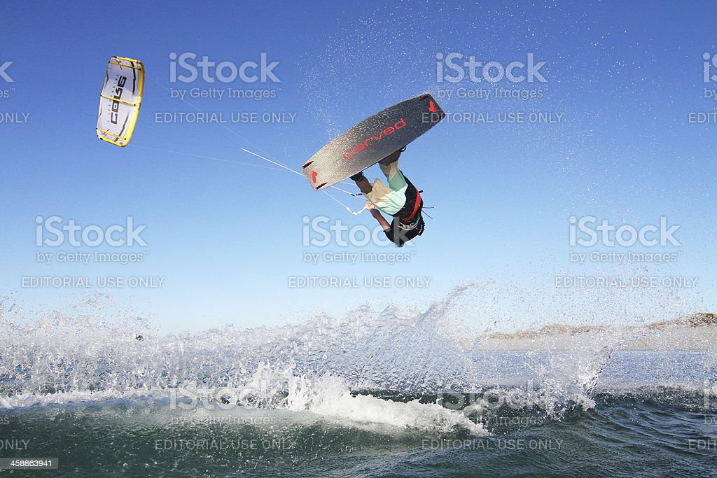 Kiteboarding Jump in Western Australia stock photo