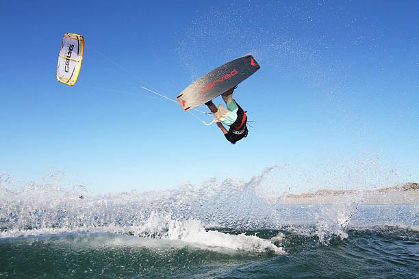 Kiteboarding Jump in Western Australia stock photo